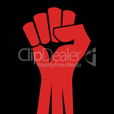 Red clenched fist hand vector.