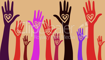 People support hand like heart