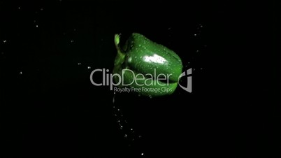 Green bell pepper rotating in super slow motion