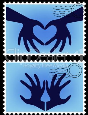 Heart shaped by hand for logo postage stamp vector