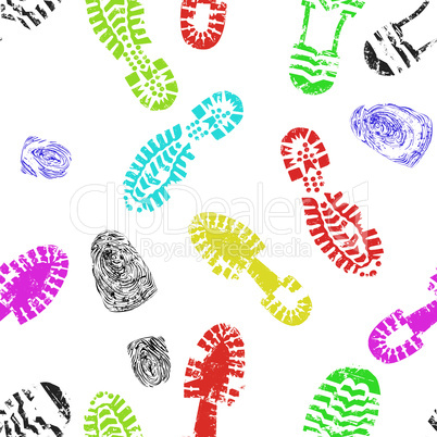 Seamless print of foot shoe of child background