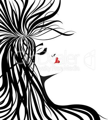 Woman silhouette lip shaped in heart.
