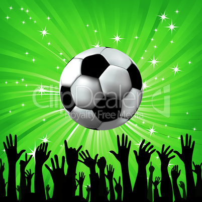 Soccer ball for euro2012 football sport with fan hands silhouettes.