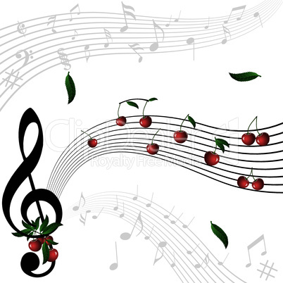 Music notes as cherry berry with floral wave pattern on white background.