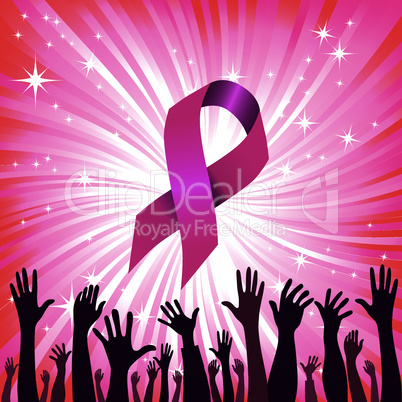 Breast cancer ribbon star background with group of raised hand