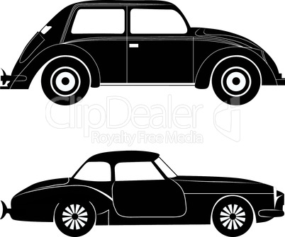 Car silhouette, vector transportation illustration set