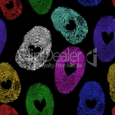 Seamless vector thumb print heart
