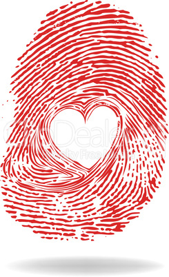 Vector heart, man or woman fingerprint valentine romantic background