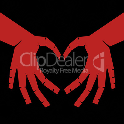 People hand like heart shape on seamless circle background.