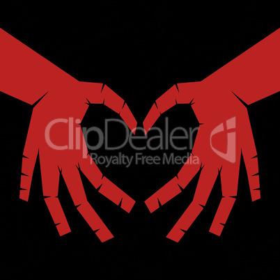 People hand like heart shape on seamless circle background.