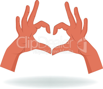 Hand like heart shape isolated on white background
