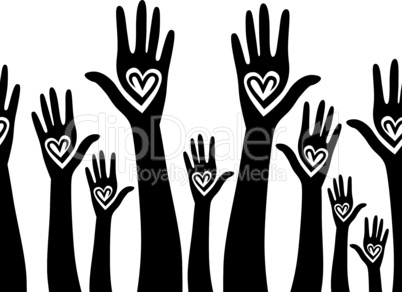 People support hand like heart united seamless background
