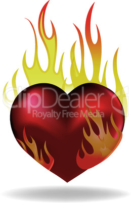 Heart love in fire icon tattoo.