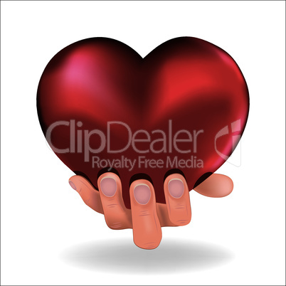 Man hold  love red heart in hand to woman on white background