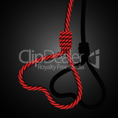 Love valentine heart shaped from loop noose of rope.