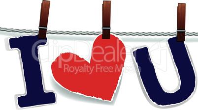 Love valentine heart on rope.