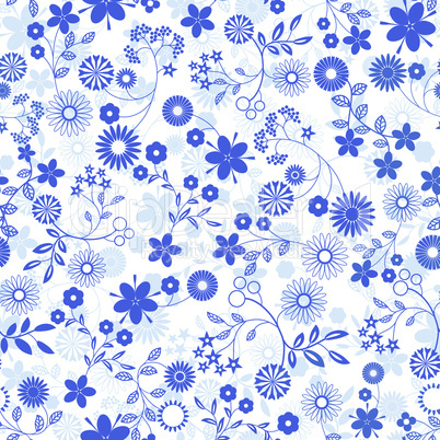 Blue flower abstract seamless background.