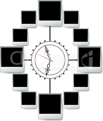 Photo snapshot frame in clock for vector scrap.