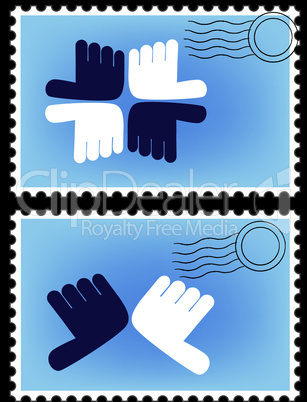 Vector stamp. Postage, post, card, postcard.