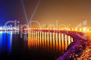 Night illumination of the luxury hotel on Palm Jumeirah man-made