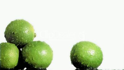 Lime in super slow motion being wet