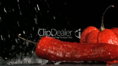 Peppers and chili in super slow motion receiving water