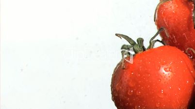 Vegetables being watered in super slow motion