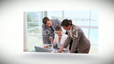 Videos of business people working at a desk