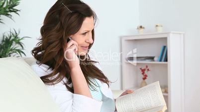 Woman calls while she is reading