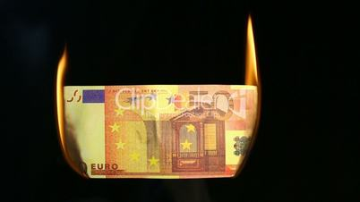 Video of a burning euro bill