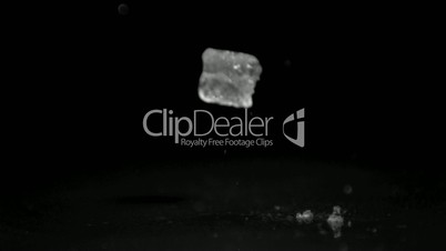 Ice cube smashing in super slow motion