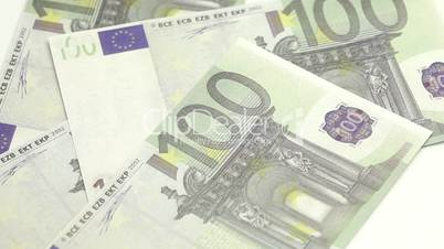 Euro bills displayed on a table