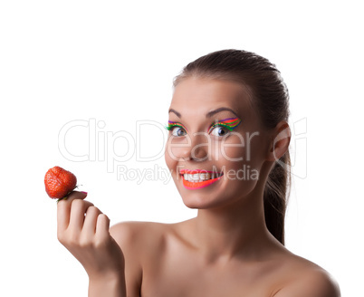 Smile woman offer your taste ripe cherry