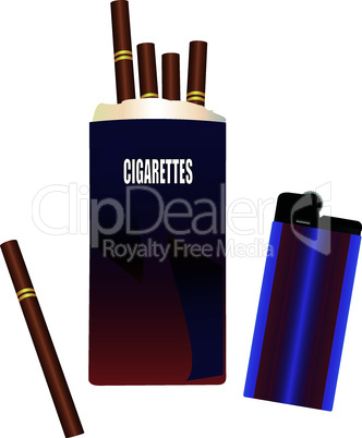 Pack of cigarettes with a lighter
