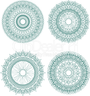 Set of four guilloche rosette - vector security pattern