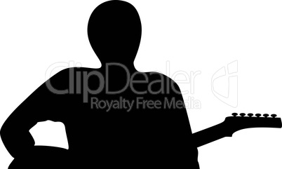 A silhouette of a guitar player isolated against white background