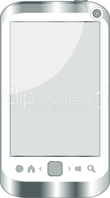 white smart phone isolated on white background