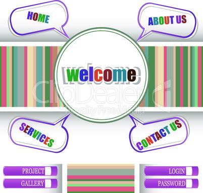 Retro style website template, vector design frame