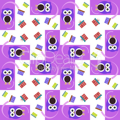 Vector cute owl card. Baby girl arrival announcement card. Seamless pink background pattern