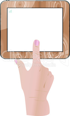 Female finger touch wooden tablet computer isolated on white background