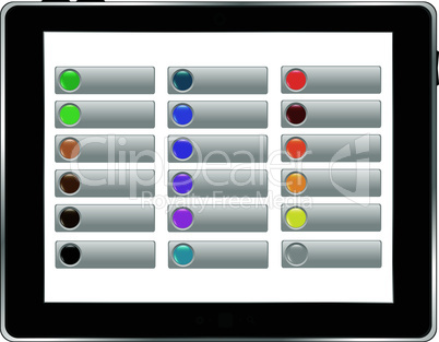 Tablet PC with abstract background and buttons on the screen