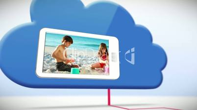 Videos of a family having fun on the beach