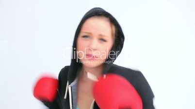 Woman boxing quickly