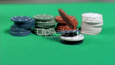 Game chips falling in super slow motion