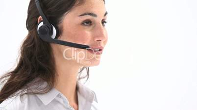 Elegant woman talking into a headset