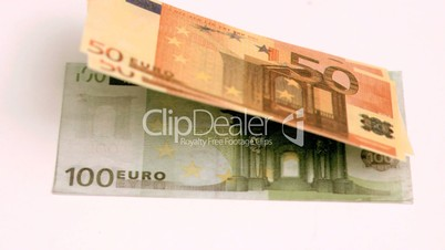 European banknotes blown in super slow motion