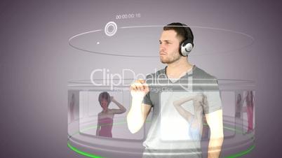 Futuristic video of a man choosing music