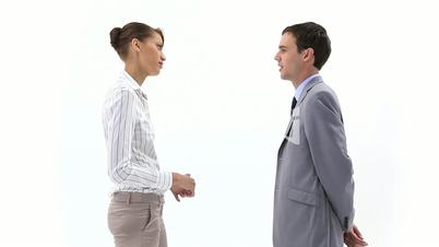 Business woman speaking to a man