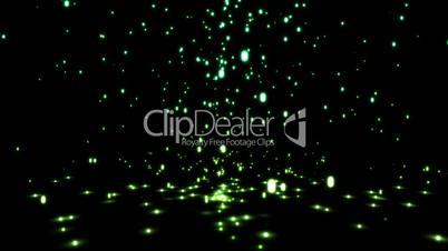 Falling green sparkles