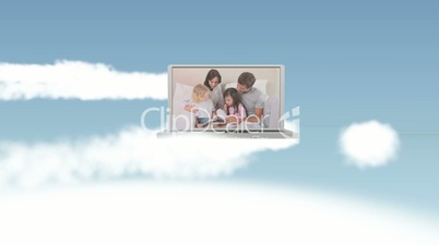 Video of happy family in the sky